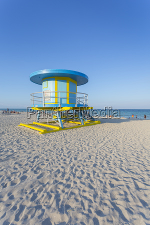 colourful lifeguard station on south beach