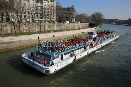 tourist boat on the river seine