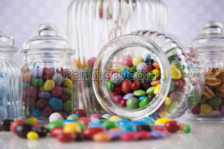 colorful gum sweet candy and lollipops