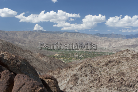 desert mountain landscape and green valley