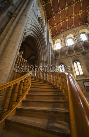 wooden curving staircase in ripon cathedral